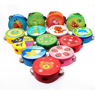 Wooden Percussion Musical Toys Tambourine Drum Bell Cartoon Kids Baby Child 10cm