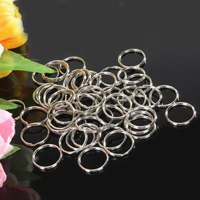 50pcs Durable 25mm Metal Split Ring Key Rings Keychain Silver for Craft