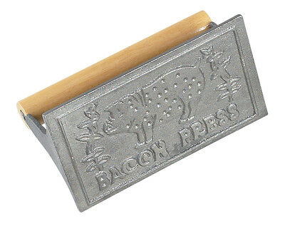 """Heavyweight Cast Iron Bacon Press and Steak Weight with Wooden Handle, 6.75"""""""