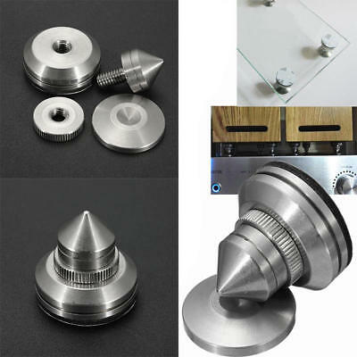 1x Stainless Steel Speaker Spike w/ Base Pad Amplifier Isolation Cone Stand Feet