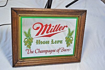 Miller High Life The Champagne of Beers Mirror Glass Beer Bar Sign Vtg