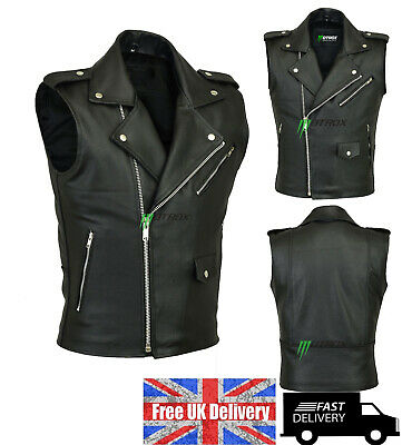 Brando Leather Vest Biker Style Waistcoat Black Genuine 100% Real Leather