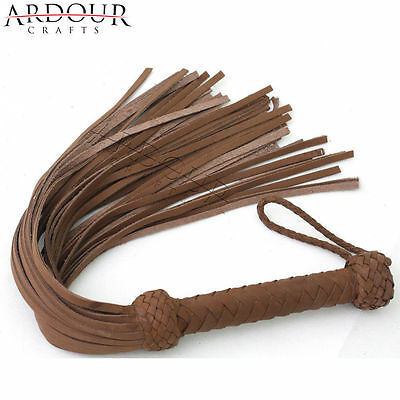 Real Cow Hide Nubuck Leather Flogger Whip 25 Tails No Artificial & No Faux