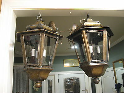 "Antique 24""  Brass Hanging 3-Light Lanterns professionally Restored/Electrified"