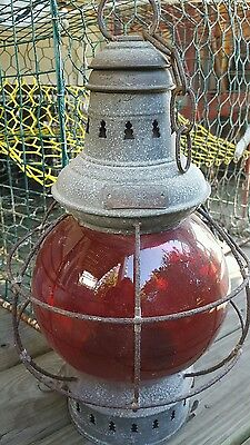 RARE Antique Russell & Stoll Red Onion Salty Signal Lantern