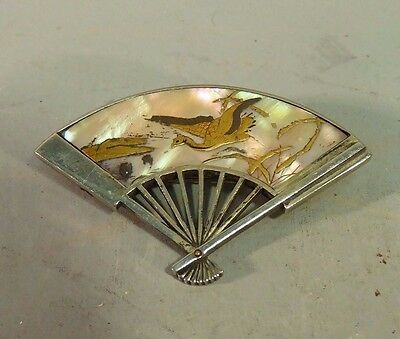 Japanese Antique Meiji Silver Fan Brooch Mother of Pearl Lacquer Crane Shakudo