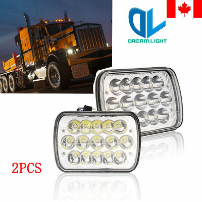 Square Pair 7x6  LED Headlights H4 Light for Jeep Wrangler YJ Cherokee GMC