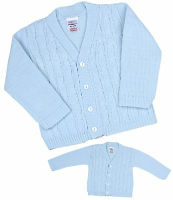 BabyPrem Baby Clothes Boys Traditional Knitted Blue Cable Cardigan Cardi 0-18 m