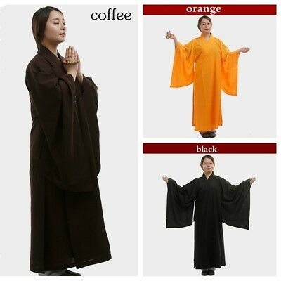 Unisex Monk Buddhist Frock Robe Linen Cotton Meditation Shaolin Gown Kung Fu New