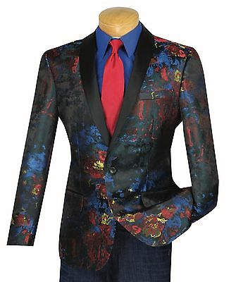 Men's Multi Color Print One Button Tuxedo Style Blazer NEW 100% Cotton