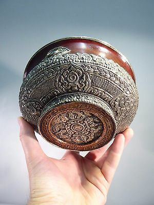 Tibetan / Nepalese Antique Fine Quality Silver Wood & Turquoise Large Bowl