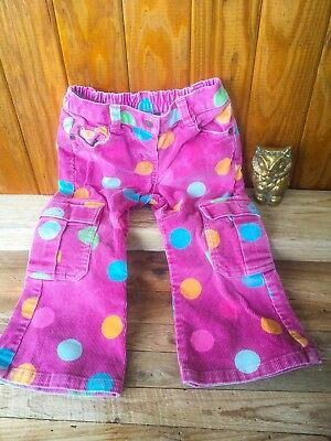 Mini Boden Girl Bootleg Dots Pants Private School Corduroy Cargo Size 2-3Y