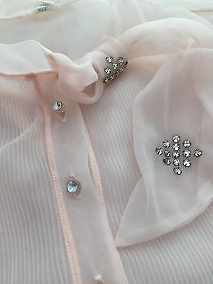 1950s Vintage SHEER Pink NYLON Blouse with Rhinestone Accents ALL NYLON Size 38