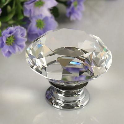 10pcs 30mm Diamond Clear Crystal Glass Door Pull Drawer Knob Handle Cabinet