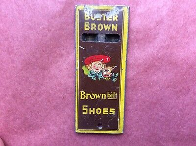 Vintage Buster Brown built shoes Tin Advertising Whistle