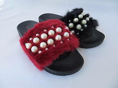 Matty04 Jelly Fluffy Sandal Women Shoes Slip On Fur Slides Pearl Slippers Furry