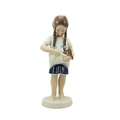 Royal Copenhagen porcellana bimba con gattino 17cm Figurine 1021424
