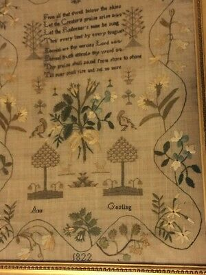 1822 Sampler ~~ Beautiful Verse And Border ~~ Great Condition