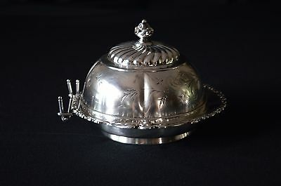 Wilcox Silver Plate Round Butter Dish #5332 1880's to 1890's
