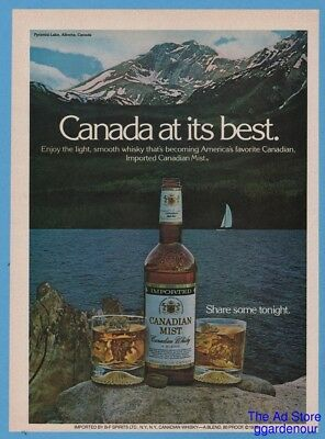 1979 Sailboat on Pyramid Lake Alberta Canada Canadian Mist Whisky Photo Print Ad