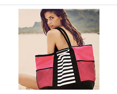 Victoria's Secret Tote Bag Canvas Neon Pink with Black and White Stripes