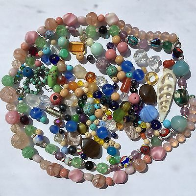 GLASS BEADS Mixed Shapes & Colours Individual & Strung Vintage & modern