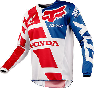 Fox Racing 180 Honda Jersey Red/White/Blue Men's Motocross/MX/ATV/BMX/MTB 2018