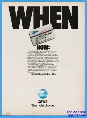 1986 AT&T Long Distance Calling Card The Right Choice Vintage Phone Print Ad
