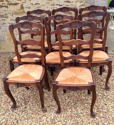 Wonderful Quality Set of 8 Louis XV Style Old French Dining Chairs