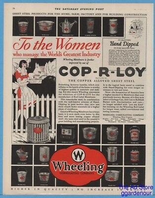 1929 Wheeling Corrugating Co WV Oven Garbage Can Water Pail Tub Coal Bucket Ad