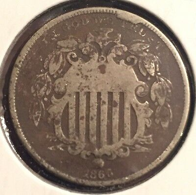 1866 Shield nickel with rays  #6004