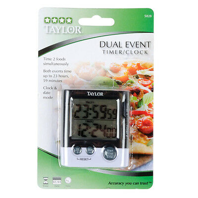 Brand New Taylor 5828 Dual Event Digital Kitchen Timer Clock And Date Free  Ship