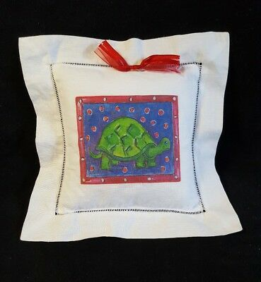 """Turtle Pillow Linen Off White Red Bow Removable Cover Design Both Sides Small 7"""""""