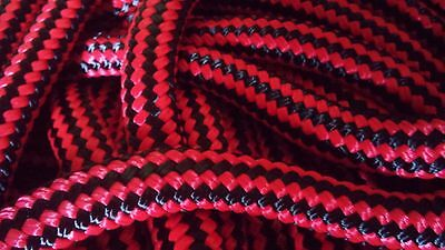 "5/8"" x 100 ft. Pre- Cut Premium Double Braid Nylon Rope Hank.Black/Red. US Made"
