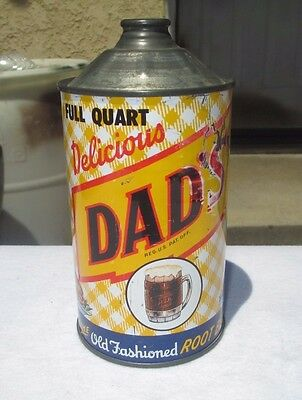 Rare Quart Cone Top Dad's Root Beer Soda Can !!!!! Nice Overall Can