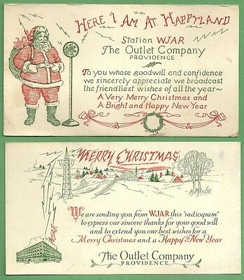 1950 Christmas Blotters THE OUTLET COMPANY STATION WJAR Providence R. I.
