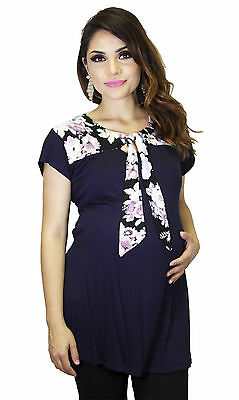 Navy Bow Floral Maternity Top Pregnancy Wear Modern Solid Short Sleeve