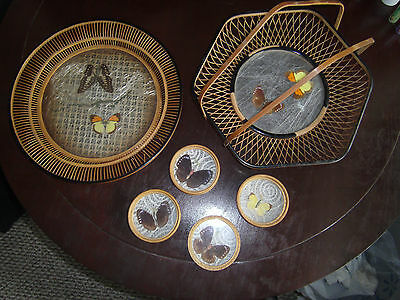 Vintage Bamboo/Wicker Butterfly 2 Round Trays 1 Handle & 4 Coaster Set, 6 pieces