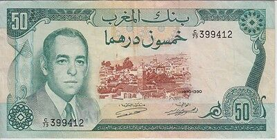 MOROCCO P58a-9412  50 DIRHAMS 1970,  BARELY VISIBLE GRAFITTI AT BACK , VF