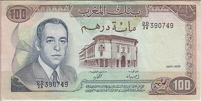 MOROCCO BANKNOTE P59b-0749  100 DIRHAMS 1985 TEAR AT TOP, EF