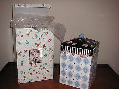 Nib Mary Engelbreit Cookie Jar Canister Blue & White Diamond & Flowers - Large