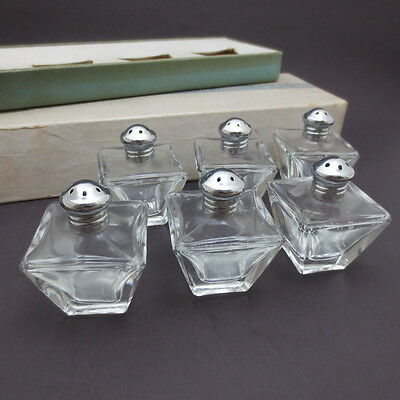 Vintage Miniature Salt and Pepper Shakers Set of 6 Irice Clear Glass Small Pairs