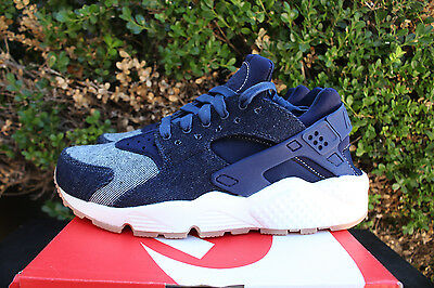 new style 8534a 9d233 Nike Womens Air Huarache Run Sz 6 Denim Gum Binary Blue Muslin Sail 859429  401