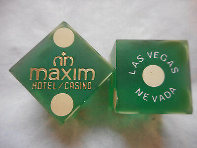 Pair of Closed MAXIM LV Casino Dice - Matte Green, #s 2836