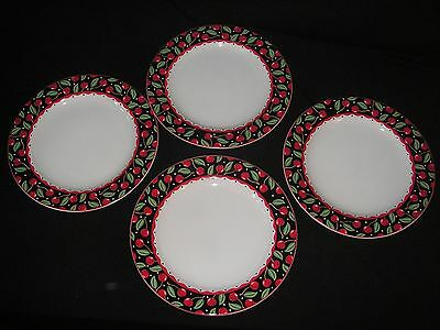 "Retired Lot Set Of 4 Mary Engelbreit Cherries 11"" Dinner Plates Sakura - Cherry"