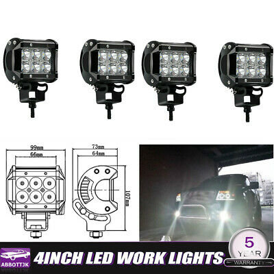 4x 4Inch LED PODs WORK LIGHT BAR Spot OFFROAD TRUCK  UTE REVERSING Ford SUV