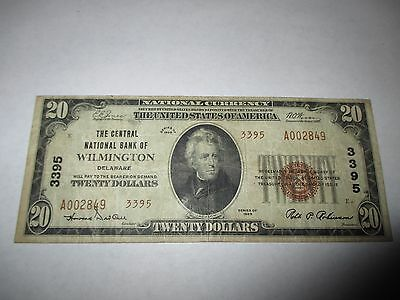 $20 1929 Wilmington Delaware DE National Currency Bank Note Bill Ch. #3395 Fine