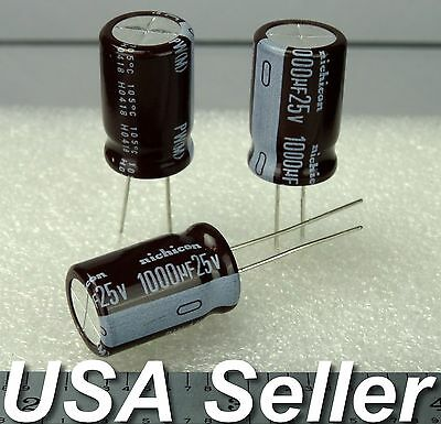 (Lot of 5) 1000uF 25V Nichicon PW Series Low-ESR Radial Capacitors - USA SHIP