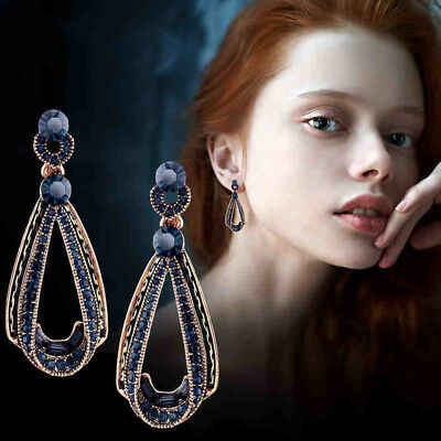 Delicate Women Jewelry Crystal Earrings Blue Rhinestone Drop Water Ear Stud