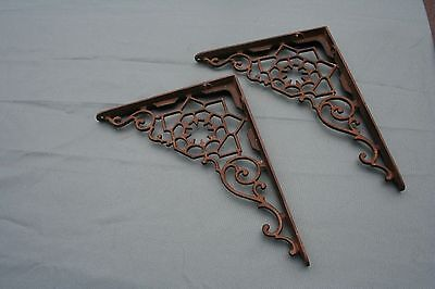 "Large Pair Vintage Victorian Fancy Cast Iron Shelf Brackets 9"" x 12"" salvage"